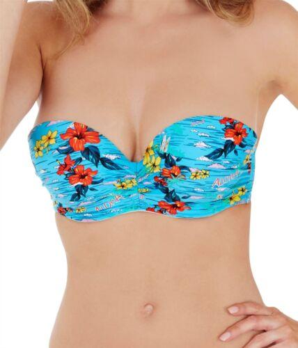 Lepel Swim Aloha Moulded Bandeau Bikini Top 67964 Blue Multi