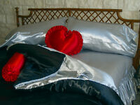 King Size Waterbed Sheet Set With Stay Tuck Poles - Silver Premium Bridal Satin