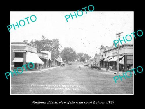 OLD 8x6 HISTORIC PHOTO OF WASHBURN ILLINOIS, THE MAIN STREET & STORES c1920 2