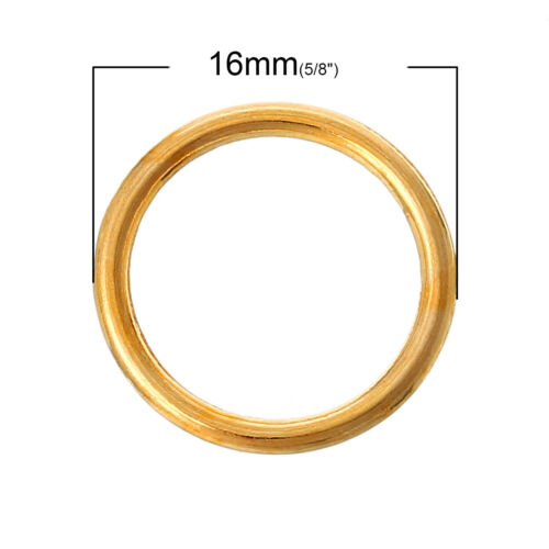 16mm Gold Plated soldered closed jump rings lead nickel safe jewellery findings