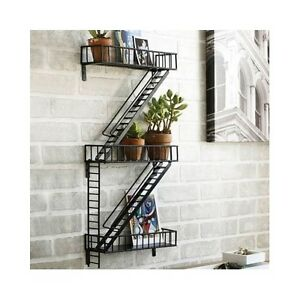 Wall Art Display Shelf Shelves Fire Escape Home Decor Storage Steel Rack Curio Ebay