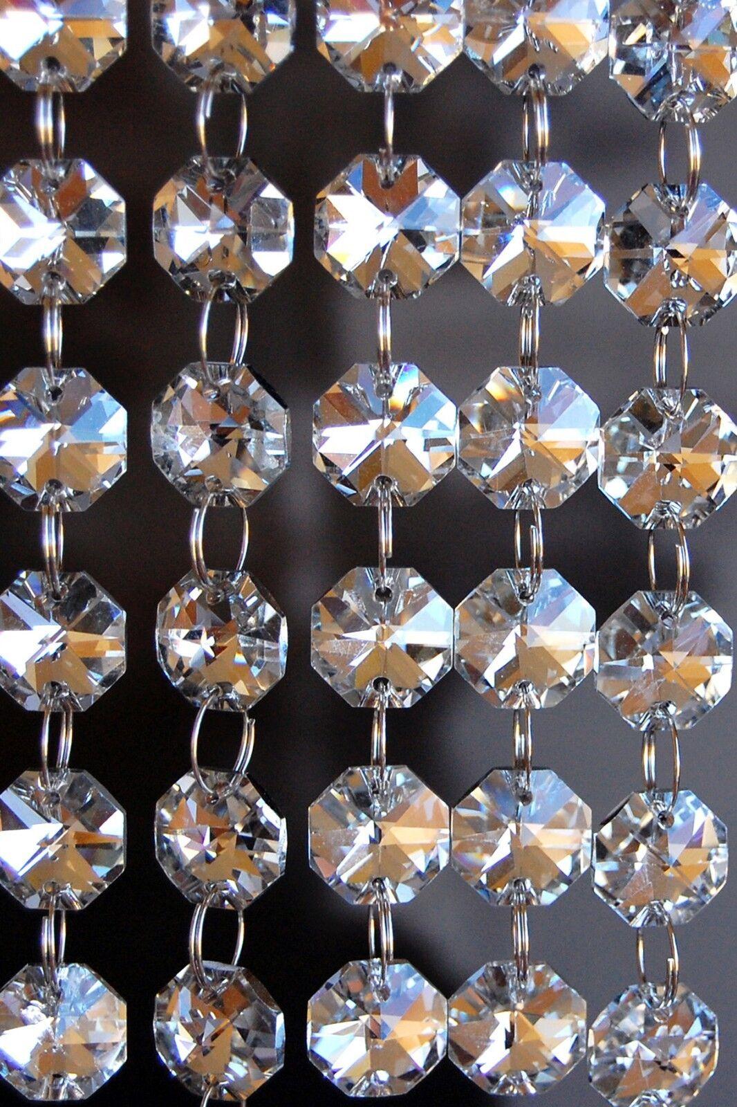 Revestimiento De Plata W Claro-Araña De Cristal De Plomo De Vidrio-Prismas cadenas-Octagon