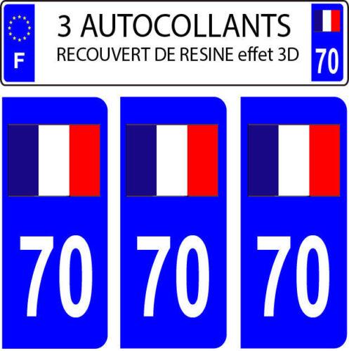 3 sticker plaque immatriculation auto DOMING 3D RESINE DRAPEAU FRANCAIS N° 70