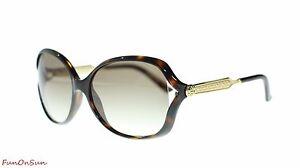 0f192372842d Gucci Women Oval Sunglasses GG0076S 003 Havana Gold Brown Lens 60mm ...
