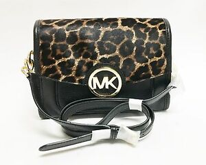 059c61f4c9a562 Image is loading MICHAEL-KORS-MARGO-BLACK-LEATHER-HAIRCALF-LEOPARD-CHAIN-
