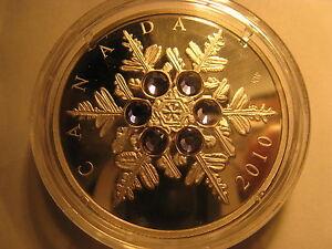 Canada-2010-20-Fine-Silver-Coin-Crystal-Snowflake-Tanzanite-Rare-RCM-Pack