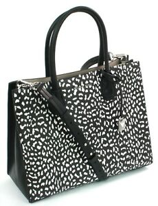 Image Is Loading Michael Kors Mercer Black And White Leopard Print