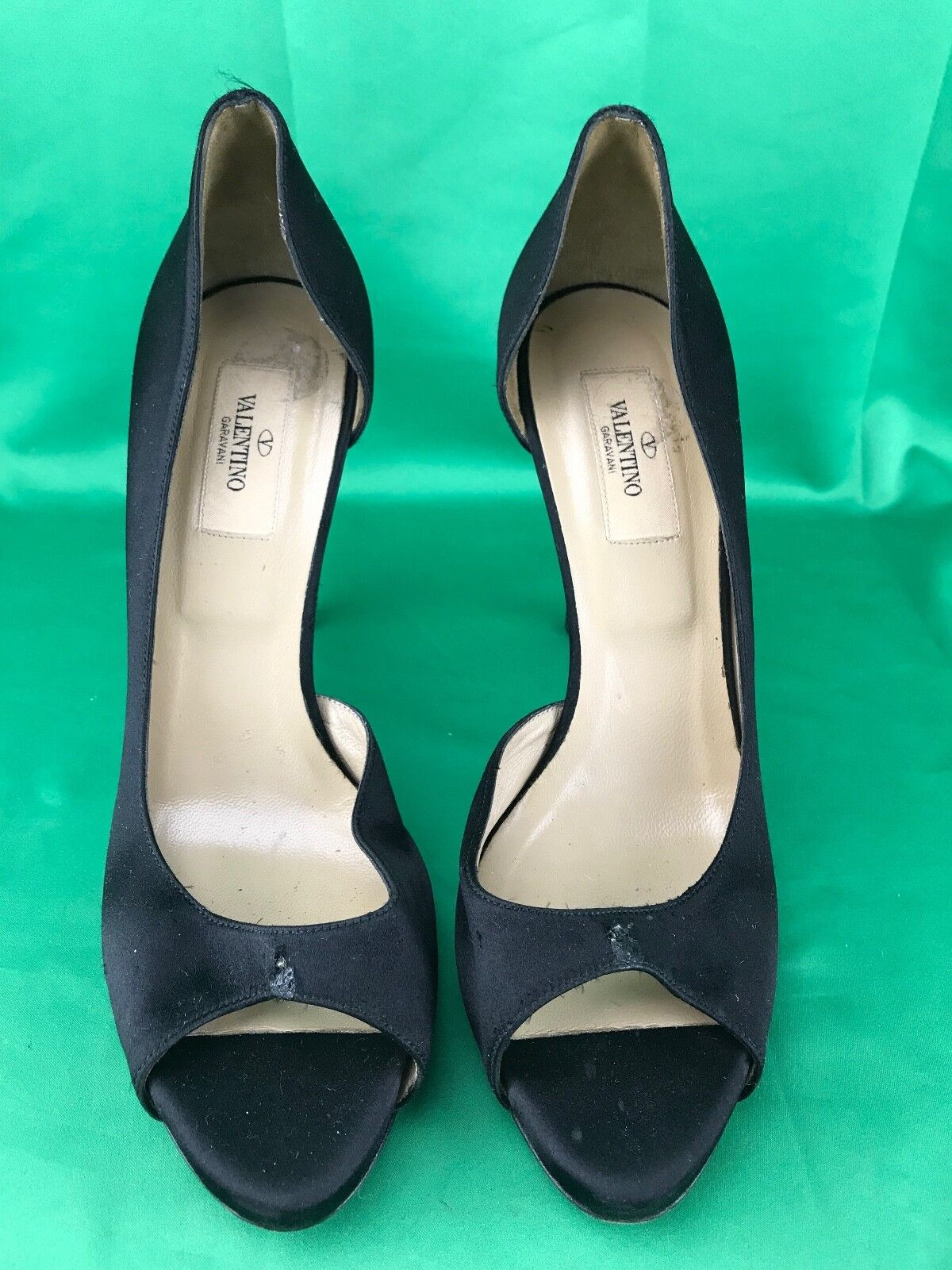 VALENTINO Satin D'Orsay Jeweled Rhinestone Bow Peep Toe Pump (READ DESCRIPTION)