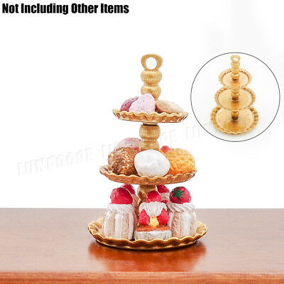 3 Tiers Cake//Bakery White Wood Stand Dollhouse Miniatures Supply Food