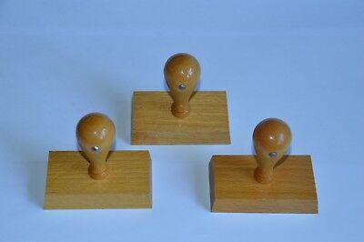 3 X Holzstempel Stempelkörper Rohling Stempel 80x45 (106)