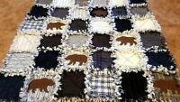 Lakeside Bears Rag Quilt Kit - 72 Pre-fringed Squares + Precut Bears + Batting