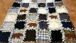 LAKESIDE BEARS RAG QUILT KIT - 72 PRE-FRINGED Squares + Precut ... : precut quilt kit - Adamdwight.com