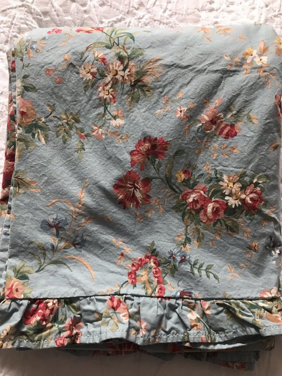 RARE Ralph Lauren Yvette Floral Ruffled Queen Flat Sheet Vintage Made USA