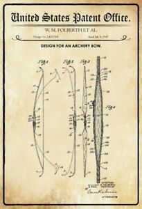 Us-Patent-Sheet-Archery-Bow-1947-Metal-Sign-Signboard-Arched-Tin-Sign-20-x-30-Cm