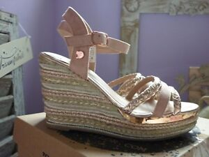 Tom-Tailor-Denim-Keil-Sandalette-mit-Plateau-rose-metallic-gold-Gr-39-NEU