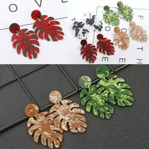 Boho-Resin-Acrylic-Leaf-Leaves-Earrings-Drop-Dangle-Ear-Stud-Jewelry-Charms-Gift
