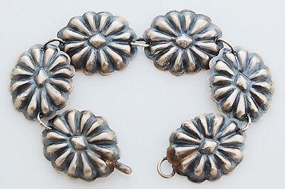 Navajo Handmade Indian Jewelry Sterling Silver Concho Link Bracelet