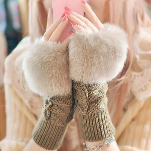 Damen Handstulpen Fingerlose Pelz Handschuhe Pulswärmer Armstulpen Winter Warme