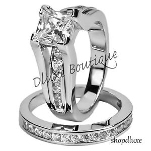 Womens Stainless Steel Princess Cut AAA CZ Wedding Ring Set Size