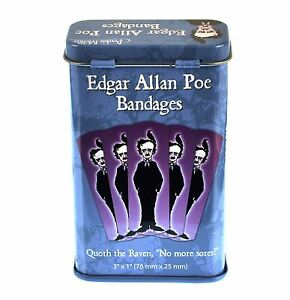 Edgar-Allan-Poe-amp-The-Raven-Purple-Gothic-Horror-Novelty-Plasters-In-Metal-Tin
