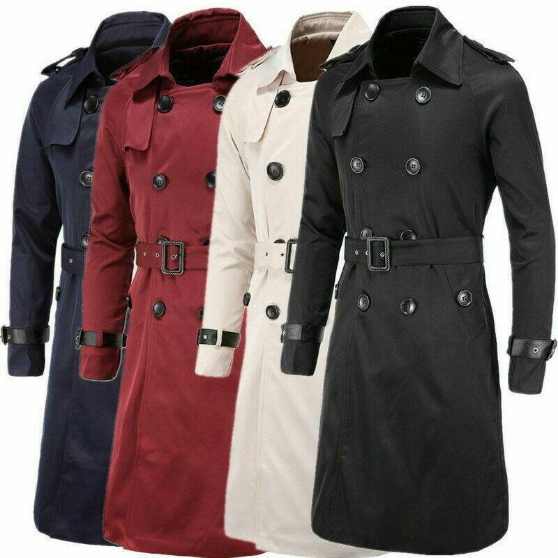 Para Hombre Cruzado  largo abrigo Parka Con Cinturón Chaqueta Moda abrigos  comprar descuentos
