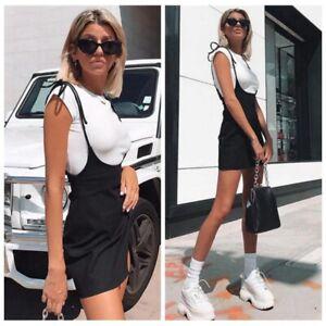 Women-039-s-Suspender-Skater-Skirt-High-Waisted-Pleated-Adjustable-Strap-Mini-Dress