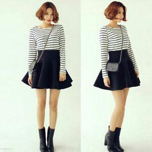 Women-Cotton-Stretch-High-Waist-Plain-Skater-Flared-Pleated-Skirt-Dress-Solid