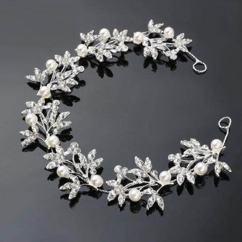 Flower Wedding Headband Hair Vine Bridal Crystal Pearl Bridesmaid Accessories