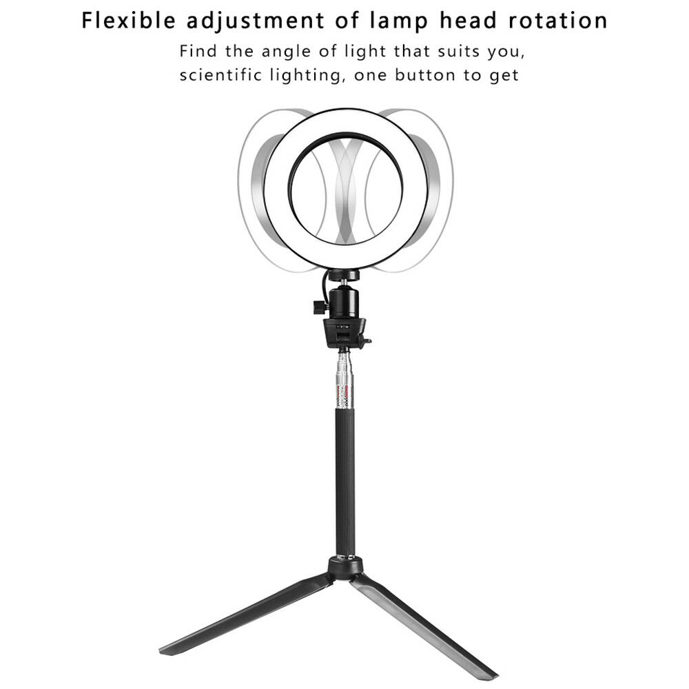 Studio LED Ring Light w/ Tripod Stand Dimmable Photo Video Lamp Kit For Camera 9