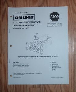 craftsman 486 24837 42 in snow thrower owners manual with rh ebay co uk craftsman snow thrower owner's manual craftsman snow blower owner manual