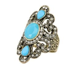 3 Color Rhinestone Tibet Silver Plated Personality  Women's Banquet Ring