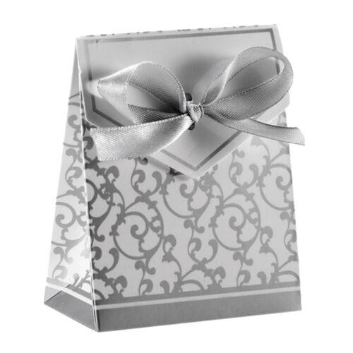 Geschenkschachtel weiß-silber Gastgeschenk Kartonage Mitgebsel Hochzeit