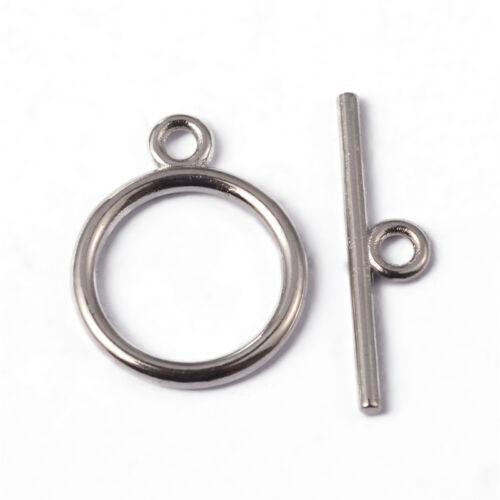 20 Sets Tibetan Circle Toggle Clasps Flat Round Nickel Free Platinum Plated 15mm