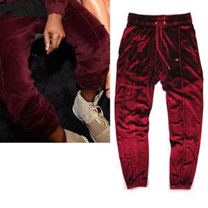 a8bad8e5b Men Velour Jogger Pants Streetwear Wine Red / Black Casual Velvet ...