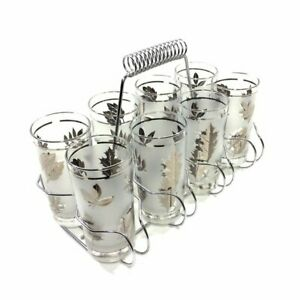NEW-IN-BOX-Set-of-8-Vintage-Libby-Frosted-Silver-Leaf-Glasses-5-1-2-034-CARRIER