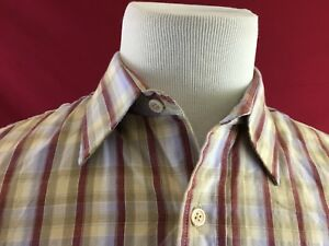 Genuine-Roebucks-Vintage-Brown-Plaid-Long-Sleeve-Shirt-Mens-Large-Sears