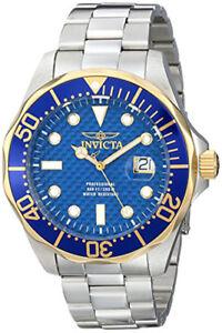 Invicta-Men-039-s-Pro-Diver-Gold-and-Blue-Quartz-3-Hand-Blue-Dial-Watch-12566