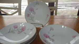 """Fine China Carnation by Royal Court 6 Coupe Soup Cereal Bowls 7"""" round"""