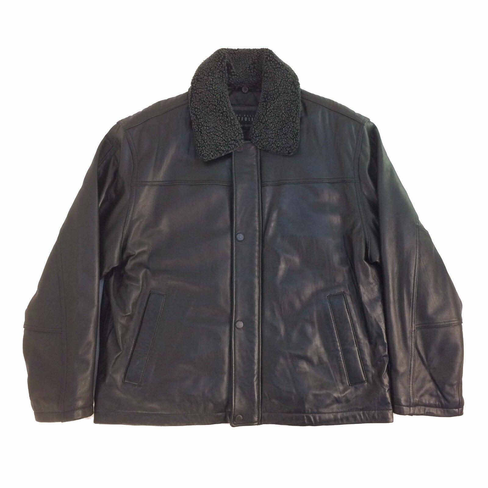 P11925706 Perry Ellis Portfolio, Vintage, Men Zip Up Leder 3/4 Length Coat/JKT