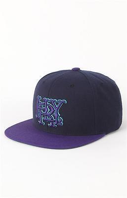 Hurley Major League Wool Blend Purple Navy Blue Snapback Hat Ball Cap New NWT