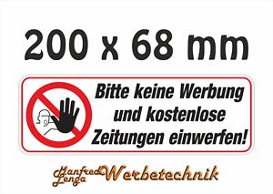 Keine Werbung Aufkleber 200 X 68 Mm Briefkasten Postkasten Keine