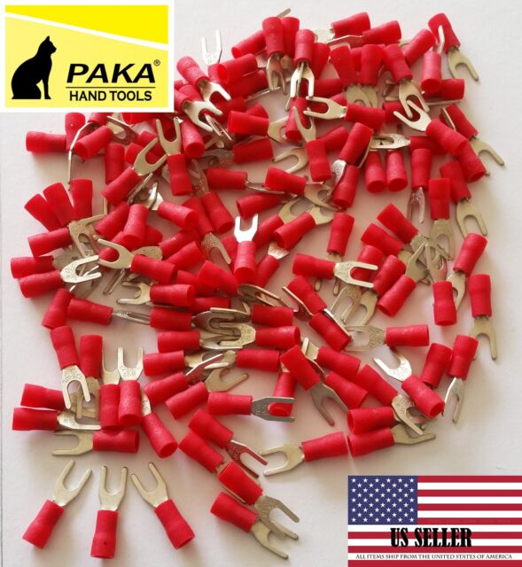 1000 × Red For 22-16 AWG Insulated Crimp Spade Fork Terminal Wire Connectors #8
