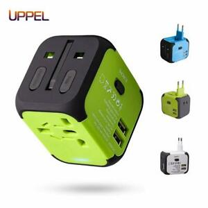 Used in UK//US//EU AU//Asia UPPEL Universal Travel Adapter International Power Adapter and Converter Charger with 2 USB+ 1PD Type-C Quick Charging Port European Plug Adapter All in one 200 Countries