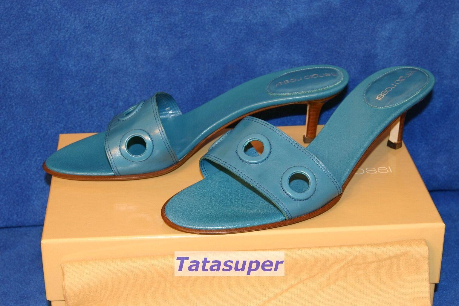 100% Authentic Sergio Rossi Pelle Apogeo Turquoise Blau schuhe Größe 38 1 2 BNIB