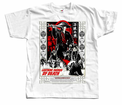 poster T SHIRT WHITE BLACK RED all sizes S to 5XL Lightning Swords Of Death V2