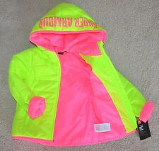 NWT Under Armour Gold Gear Toddler Girl Puffer Jacket Neon Fuel Green Pink 2T