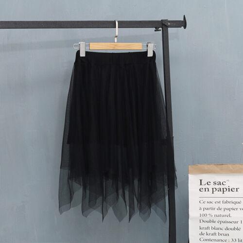 Women Ladies High Waist Tulle Tutu Skirt Elastic Mesh Layered Ruffle Dress