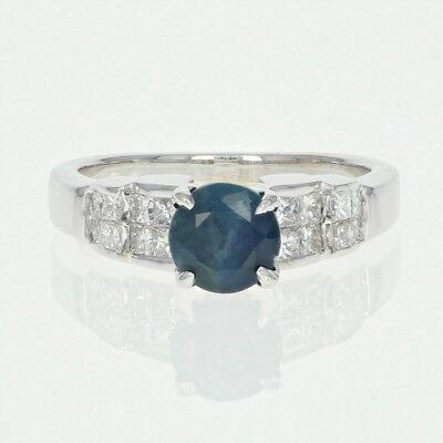 Saphir & Diamant-verlobungsring - 18k Weißgold Rundschliff 1.76ctw Einfach Zu Schmieren