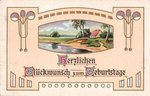 Alte Geburtstagskarte geprägt Jugendstiel um 1910 beschrieben