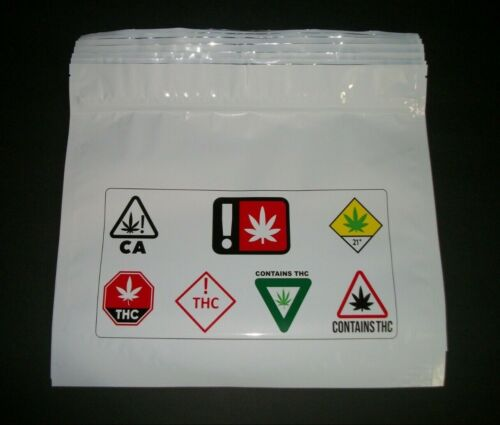 Lot Of 20 Zip lock Smell-Proof Exit Bag 12x11 Dispensary Child Resistant Warning
